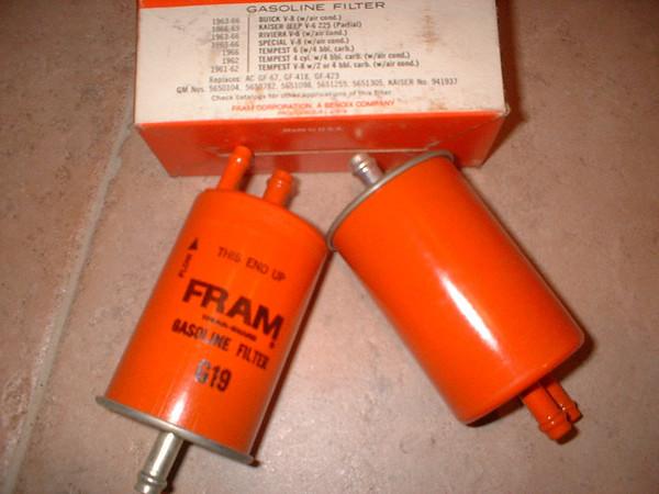 1966 Pontiac Tempest Sprint fuel filters (2) (A g19 FRAM)