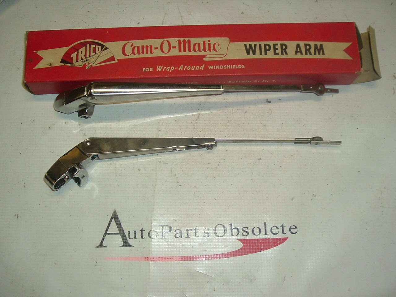 1955 1956 Cadillac Buick Packard chrome cam o matic wiper arms pair (A al175)