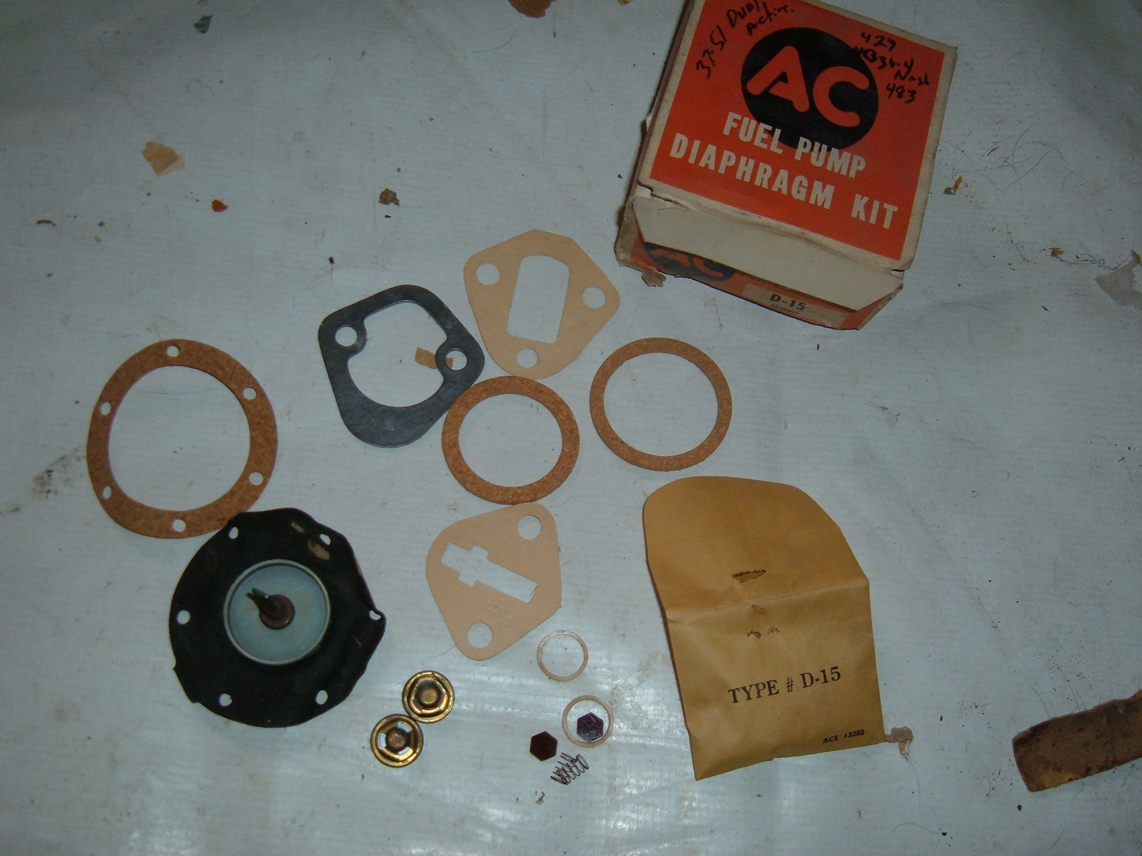 1937 39 41 46 48 49 51 chevrolet fuel pump ac rebuild kit nos 1538507 (z 1538507)
