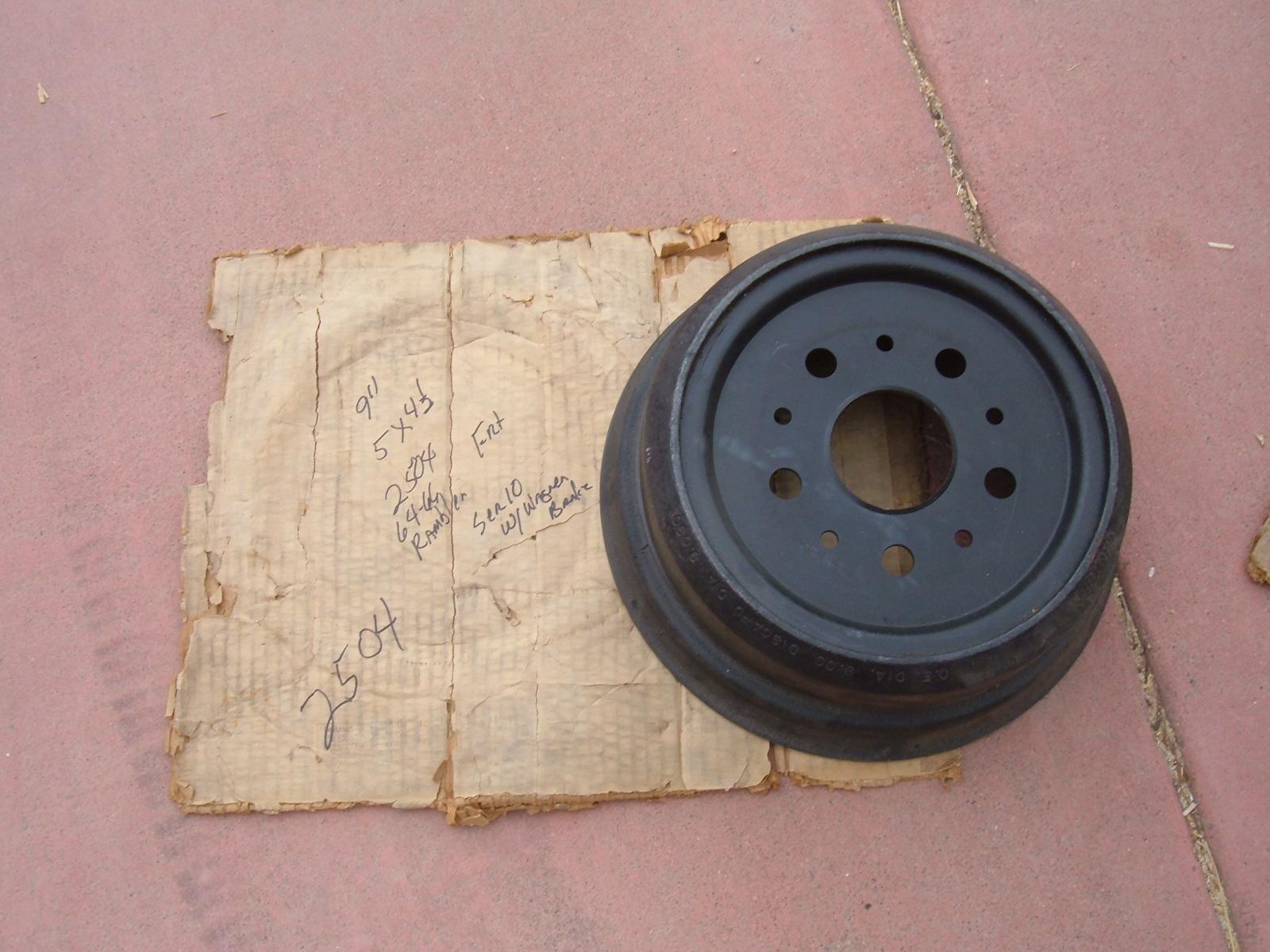 1964 65 66 rambler front brake drum new # 2504 (z 2504)